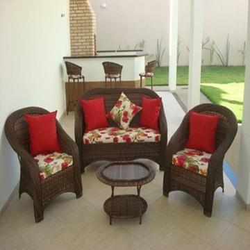 Conjunto de fibra sofá Área externa interna sacada jardim
