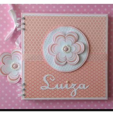 caderno personalizado para menina chá de bebê Florzinha