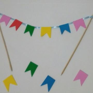 Bandeirola para bolo, Varalzinho para bolo, Festa junina