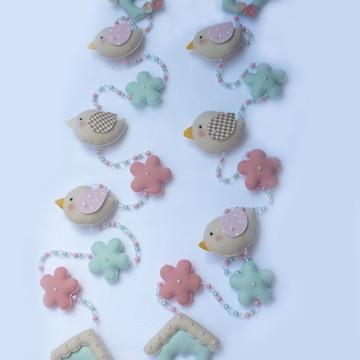 Pingente de cortina flores e passarinhos