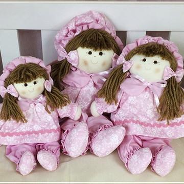 Trio de bonecas para nicho menina Rosa
