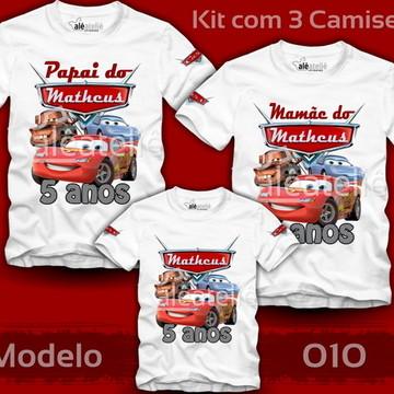 Kit Camiseta Carros Disney Personalizada