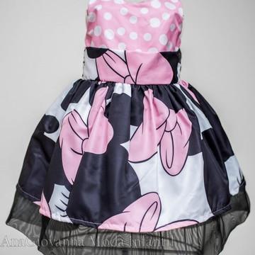Vestido Infantil Minnie Mouse Rosa