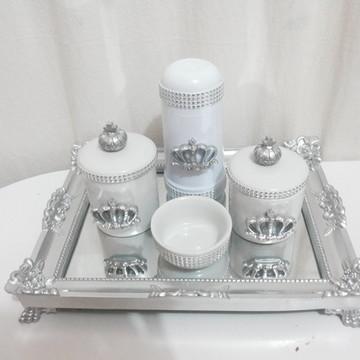 Kit higiene prata em porcelana