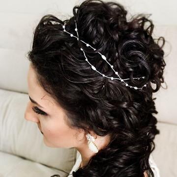 Tiara de noiva pérolas com cristais