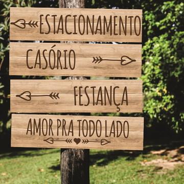 Placa Rustica Indicativa Casamento