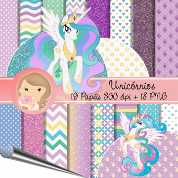 Kit papel Digital scrapbook Unicórnios