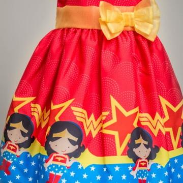 Vestido Festa Infantil Mulher Maravilha