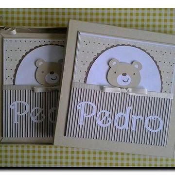 Livro do Bebê e caixa para menino ursinho fofo scrapbook