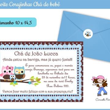 Convite Chá de Bebê Corujinhas