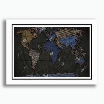 Quadro Mapa Mundi 65x45cm Estilo Jeans