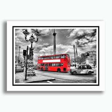 Quadro Londres 65x45cm Onibus vermelho Cidades Sala