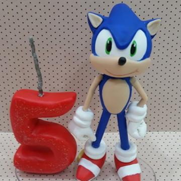 Topo para Bolo Sonic com Vela