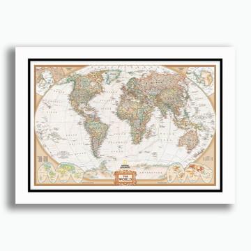 Quadro Mapa Mundi 65x45cm National Geo