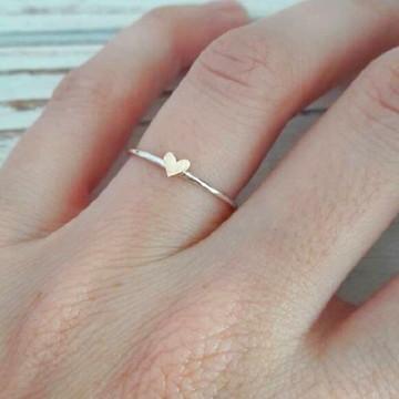 Anel de Prata com Coração em Ouro Rosa
