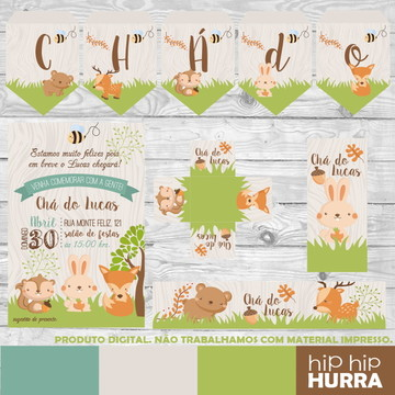 Kit Chá de Bebê - Animais da Floresta