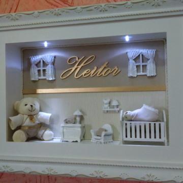 Porta maternidade com luz e ursos