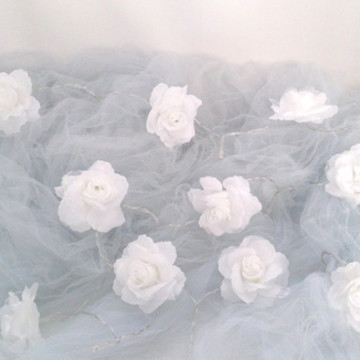 Luz de fadas rosas a pilha-Rosa Branca
