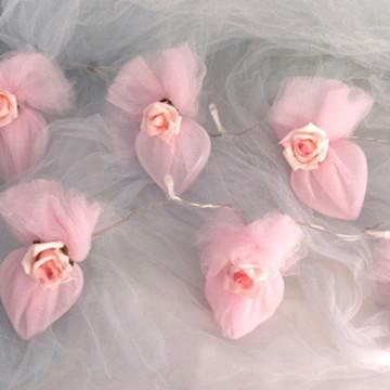 Luz de fadas Coração c/rosas a pilha