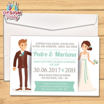 Convite Casamento Noivinhos + Envelope