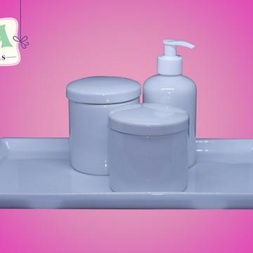 Kit higiene com bandeja porcelana