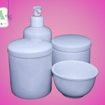 Kit Higiene Bebê Porcelana Branco