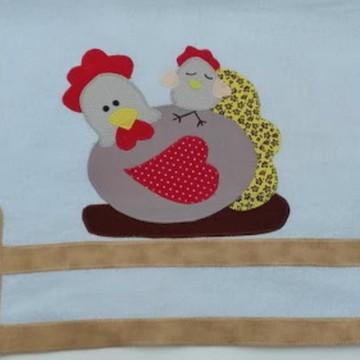 Pano de prato galinha e pintinho