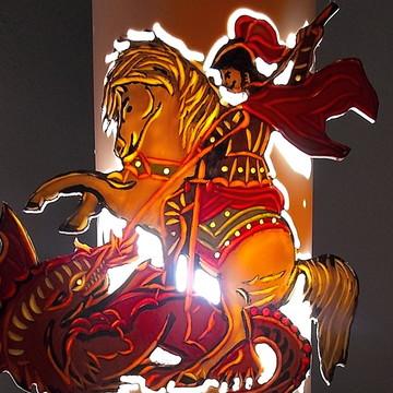 Luminária pvc de mesa São Jorge e o Dragão
