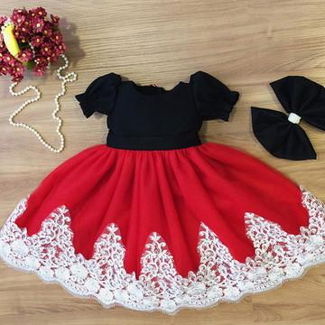 Vestido Tule e Renda Branca - Infantil