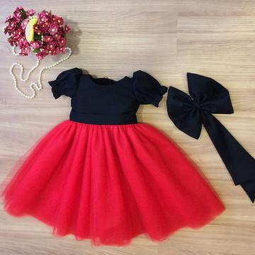 Vestido Tule Preto e Vermelho - Infantil