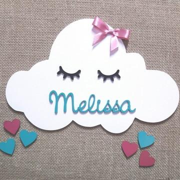 Nuvem mdf personalizado coração pintado