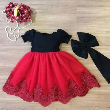 Vestido Tule e Renda Vermelha - Infantil