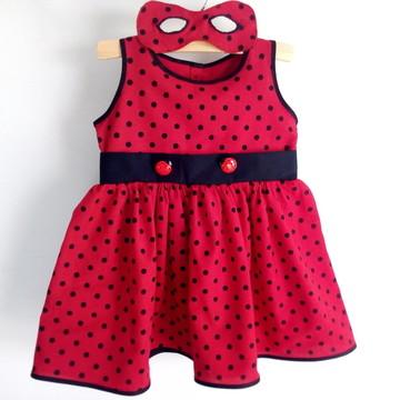 Vestido Ladybug Miraculous com máscara