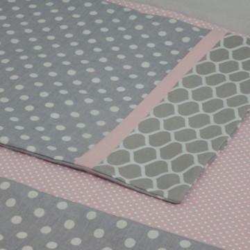 Jogo lençol berço americano cinza rosa