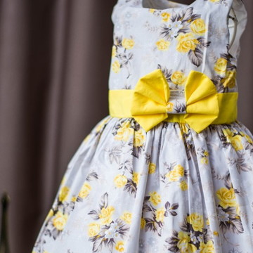 Vestido Infantil de Festa Floral Amarelo