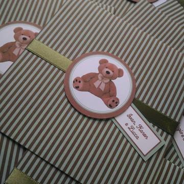 Convite para chá de bebê urso