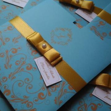 Convite para 15 anos azul tiffany e dourado