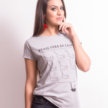 Camiseta: Blusa Feminina Mescla Cat