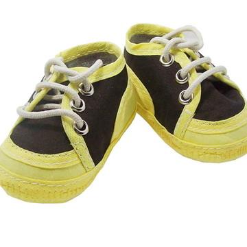 Sapatinho de bebê Tênis Amarelo e Marrom