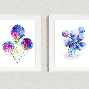 Duas Aquarelas de Hortensias azuis com moldura