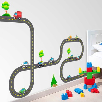 Adesivo de parede pista e carros