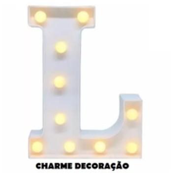 luminária Letra L Luminosa Led 3d A Pilha