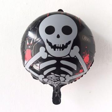 Balão Metalizado Festa Caveira Halloween 45*45cm