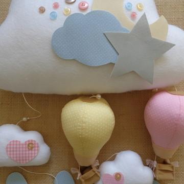 Móbile Nuvem Bebê/Menina Balão