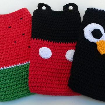 Kit três Capa para celular de crochê