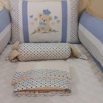 Kit Berço Urso Imperial Azul e Marfim Po