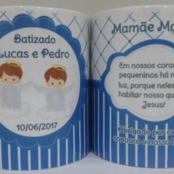 Caneca Personalizada de Batizado gemeos