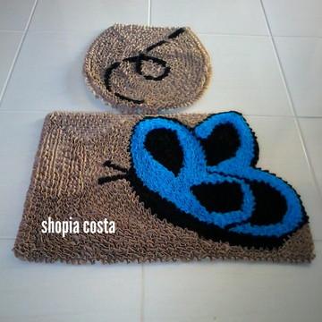 Tapete frufru banheiro borboleta