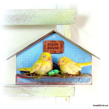 Casa passarinho decorativa Blue -UNIDADE