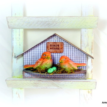 Casa passarinho decorativa Cinza-UNIDADE
